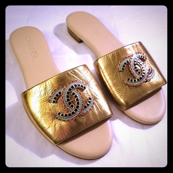 CHANEL Shoes - Chanel Multicolor-Metal Logo Mules Slides - NWOB